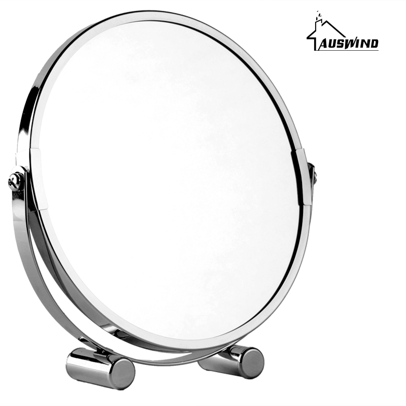 AUSWIND Bath Mirrors 7 Round Wall Mirror 3 X Magnification Dual Face Makeup Cosmetic Mirrors Brass Bathroom Mirror Sj17