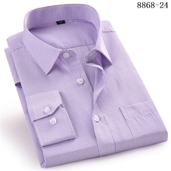4XL 5XL 6XL 7XL 8XL Large Size Men's Business Casual Long Sleeved Shirt White Blue Black Smart Male Social Dress Shirt Plus 8