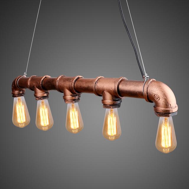 vintage edison pendant light retro water pipe pendant lamp bulbs for room