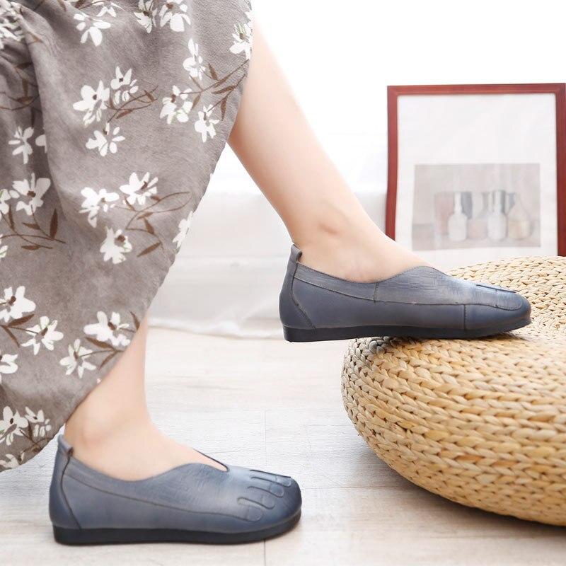 e1ffceb94 Gris Color Sólido Estilo Cuero Zapatos rojo Cómodo Retro Otoño Moda  Casuales De Simple Suave Planos Mujer ...
