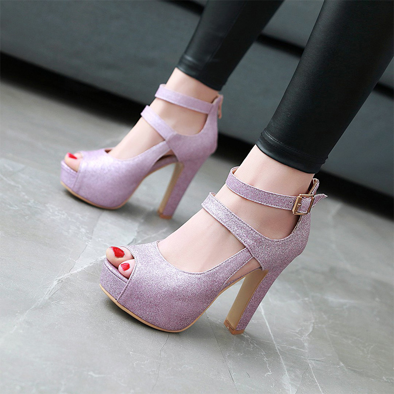 Plus Size 43 Sexy Women Pumps Peep Toe Ankle Strap Super High Heels Shoes Sequined Cloth Summer Women Sandals Club Party Shoes