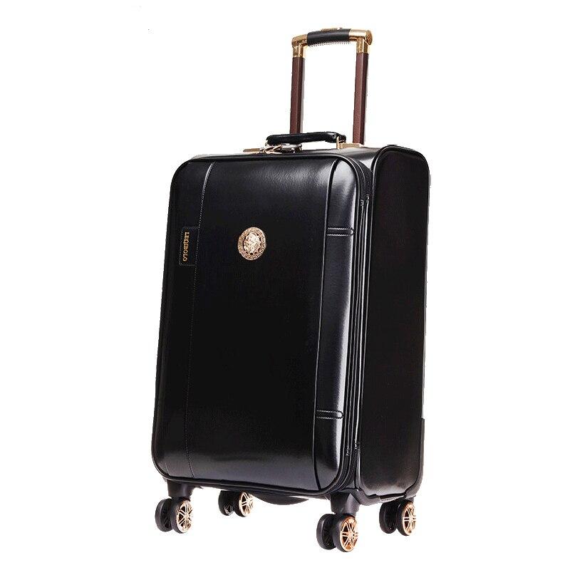Letrend pu 가죽 롤링 수하물 회 전자 남자 비즈니스 트롤리 여성 비밀 번호 가방 바퀴 20 인치 캐빈 여행 가방-에서여행용 가방부터 수화물 & 가방 의  그룹 2