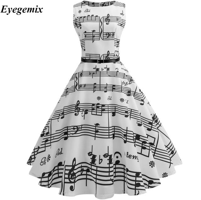 0c755c2a4fc 2019 Women Summer Music Note Printing Dress 50s 60s Audrey Hepburn Robe  Retro Swing Casual Vintage