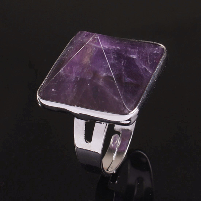 Wholesale 10Pcs Charm Silver Plated amethyst pyramid Beads precious stone Adjustable Finger Ring Jewelry