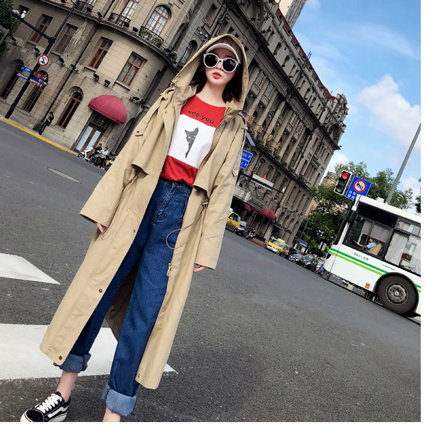Dimensioni Casual Chic Vestiti Di 2019 Cappotto Impermeabili Con Sciolti Vento Trench Kaki Uk A Giacca Modo Autunno Marca Cappuccio Femminile Donne autunno E Grandi Nuovo Color I48wqxPw5U