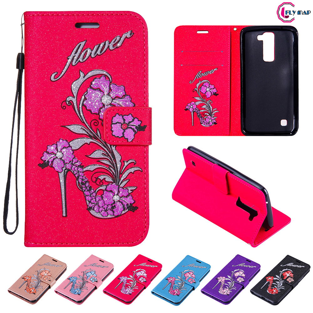 Glitter Flip Case for LG K8 K 350 350N Floral High heels Leather Cover Phone Case for LG K 8 K350 E K350E K350N LG-K350E Capa