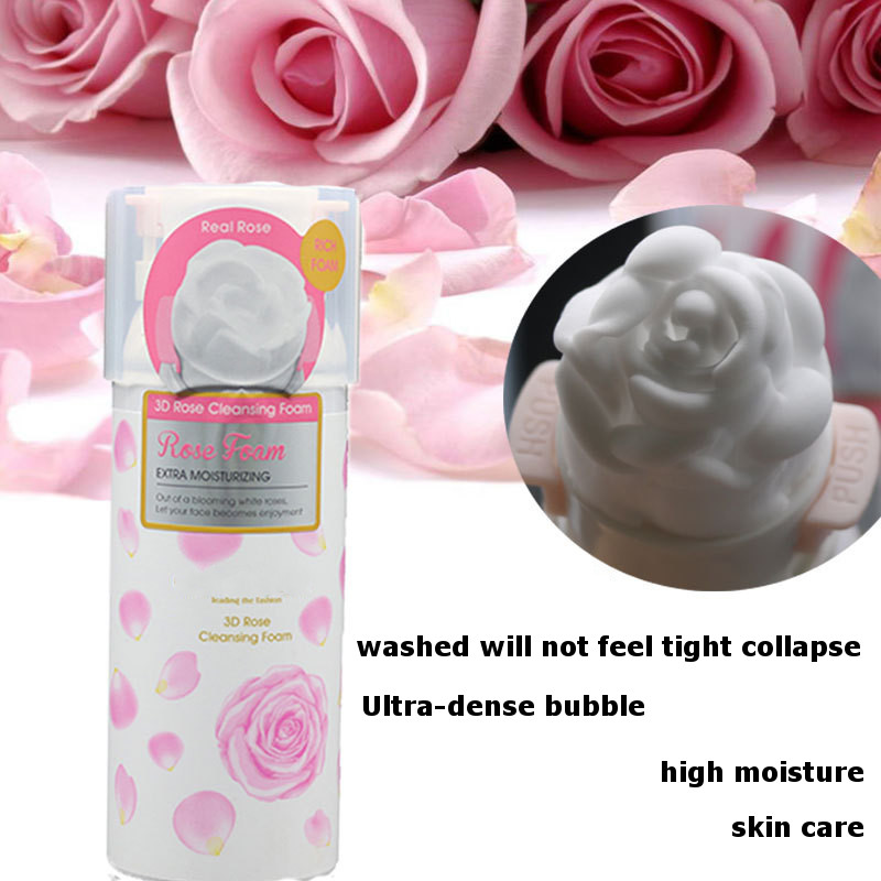 3D Rose Face Wash Foaming Cleanser Sealed Beauty Whip Soap Foam Cleanser Whip Skin Care  Acne Blackhead Remover