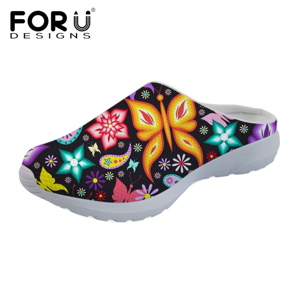 FORUDESIGNS Sandals Flats Women Slippers Butterfly-Pattern Summer Ladies Mesh Mujer 3D