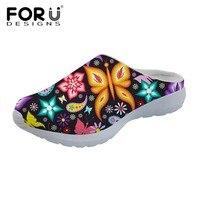 FORUDESIGNS Women S Sandals 3D Butterfly Pattern Sandals Flats Summer Women Slippers Breathable Mesh Ladies Sandalias