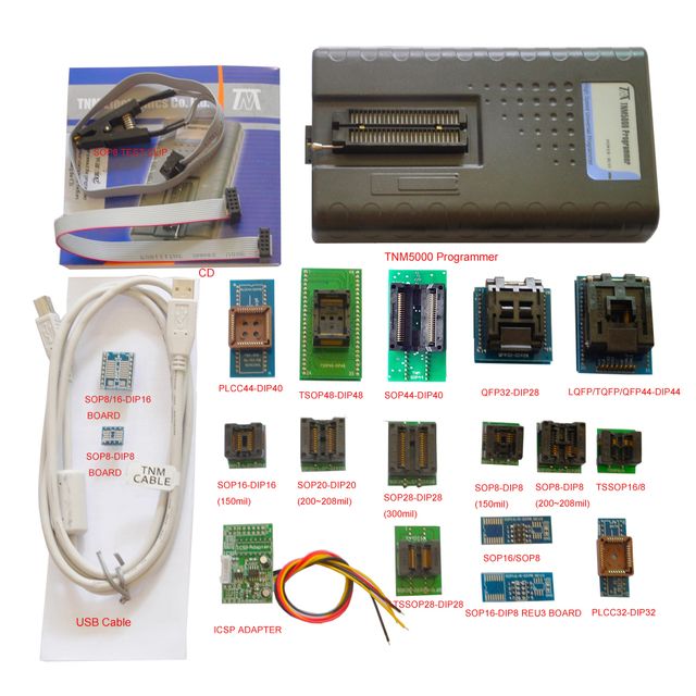 2019 New TNM5000 USB EPROM Programmer+18pc sockets+IC Clip for NAND flash/EPROM/MCU/PLD/FPGA/ISP/JTAG,Support K9GAG08U0E