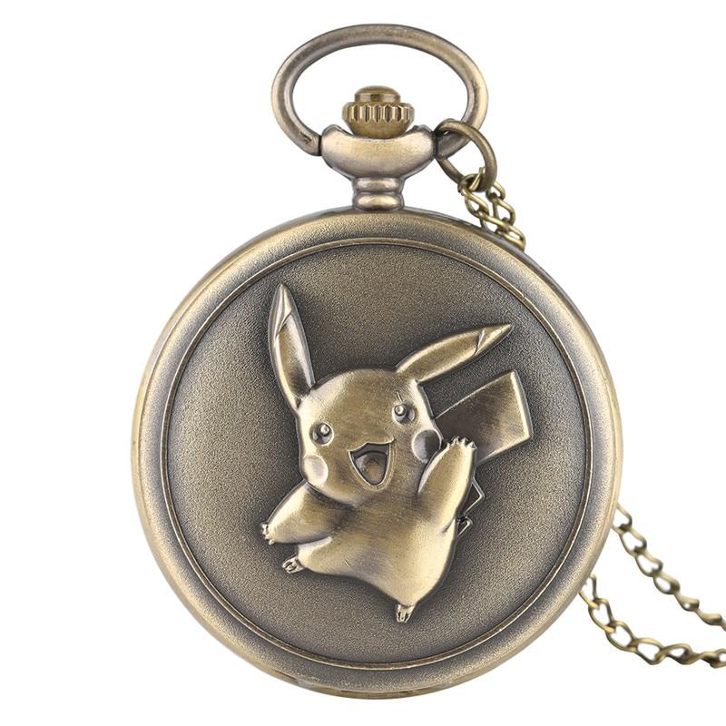 Hot Sale Full Hunter Pikachu Design Fob Pocket Watch Quartz For Children Bronze Vintage Pendant Clock Men Women Gift With Chain