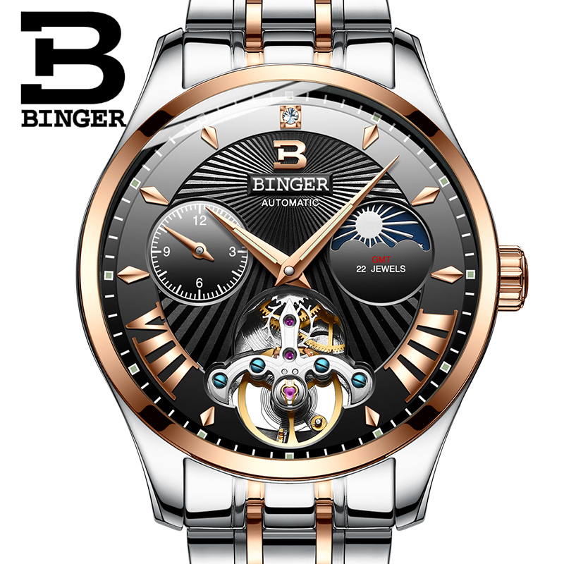 Switzerland Mechanical Watch Men Binger Role Luxury Brand Men Watches Skeleton Wrist Sapphire Men Watch Waterproof B-1186-7 wrist switzerland automatic mechanical men watch waterproof mens watches top brand luxury sapphire military reloj hombre b6036