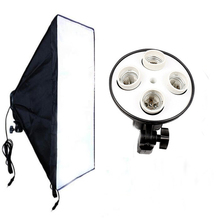 Photo Studio Video Lighting Kit 50*70cm Softbox Light Box+4 x E27 Socket Lamp Head Photographic Light Equipment цена в Москве и Питере