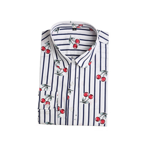 HTB1 WbvJVXXXXbbXVXXq6xXFXXXf - Women Cherry Blouses Long Sleeve Shirt Turn Down Collar Floral Blouse