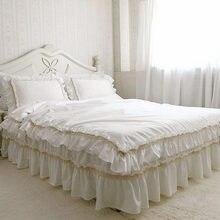 Hecho a mano de lujo juego de cama conjunto funda nórdica de la colmena del cordón elegante Exquisita colcha funda de almohada de satén de algodón del lecho de la boda