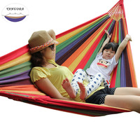 High Strength Portable Hammock 200*150cm Backpacking Hiking, Woven Cotton Fabric Rainbow Color Lattice Striped Camping Furniture