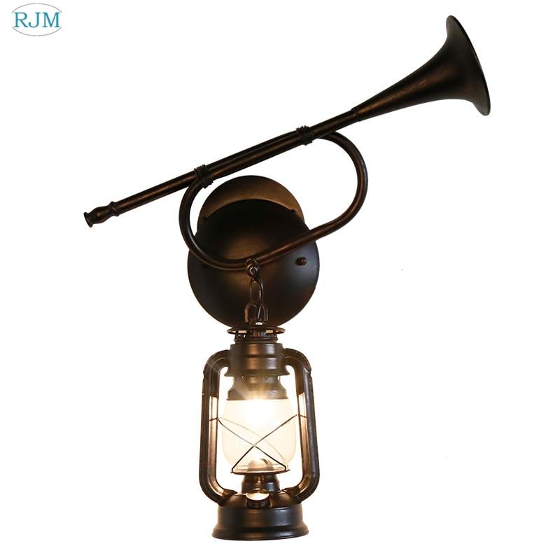 Creative Industrielle Rétro Corne Mur Lampes Vintage Mur De Fer Lumière pour Restaurant Salon Chambre Escalier Couloir Éclairages