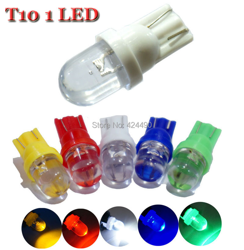 10 Pieces T10 W5W LED 1 LED Dashboard Lamp Light bulb Wedge Side 194 168 white red blue green yellow License Plate Lights top quality t10 194 168 cob 1 led w5w wedge side light car license plate bulb lamp dc12v pink green yellow red pure white