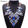 XG181 2015 New Arrival Fashion Necklaces & Pendants Ultra-luxury Blue Gem Statement Necklace Multi-color Crystal Flower Jewelry