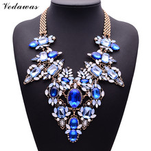 XG181 2015 New Arrival Fashion Necklaces & Pendants Ultra-luxury Blue Gem Statement Necklace Multi-color Crystal Flower <font><b>Jewelry</b></font>