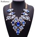 XG181 2015 Novos Chegada de Moda Colares & Pingentes Ultra-luxo Gema Azul Declaração Colar Multi-cor Cristal Flor jóias