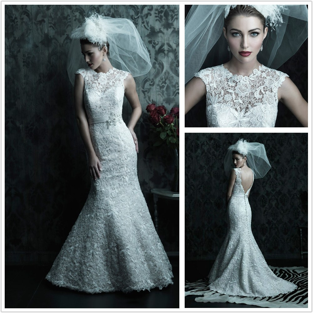 Discount Free Shipping Cwds078 One Shoulder With: Free Shipping Lace Mermaid Wedding Dress Backless 2013