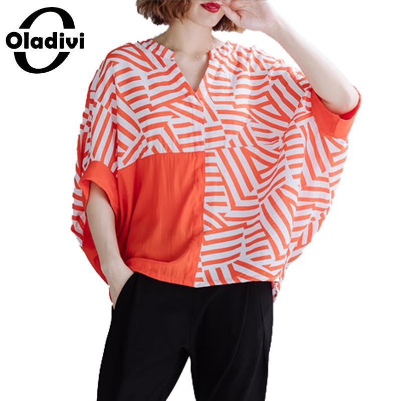 Oladivi marque grande taille femmes vêtements mode imprimé rayé Blouses été 2019 nouvelle chemise femme haut tunique Blusas 7XL 6XL 5XL