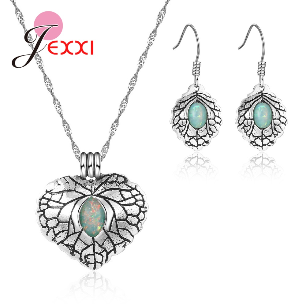 Explosion Jewelry Retro Set 925 Sterling Silver Heart Shape Green Crystal Zircon Earrings Necklace Holiday Party
