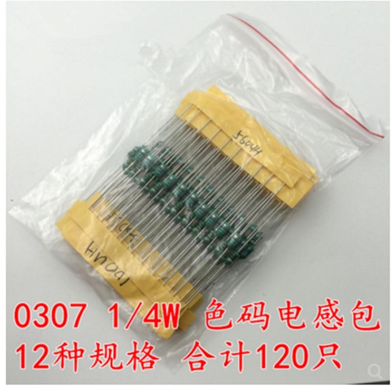 Color ring inductor 0307 1//4W Inductors 1UH-1MH 12valuesX10pcs=120pcs Inductors