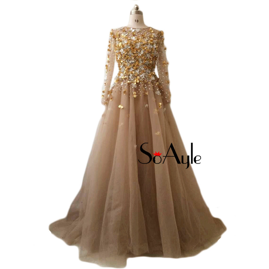 SoAyle Real Picture Vestidos de festa 2017 Prom Dresses A Line Long Sleeves  Champagne Beading Flowers Gorgeous Women s Dress-in Prom Dresses from  Weddings ... db7ab78af84a
