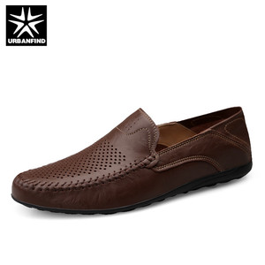Image 2 - URBANFIND Italian Mens Shoes Casual Luxury Brand Summer Men Loafers Genuine Leather Moccasins Comfy Breathable Slip On Shoes