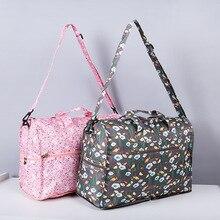 Yüksek kaliteli naylon katlanır seyahat çantası büyük kapasiteli kadın silindir çanta organizatör ambalaj küpleri bagaj baskı erkekler haftasonu çantası