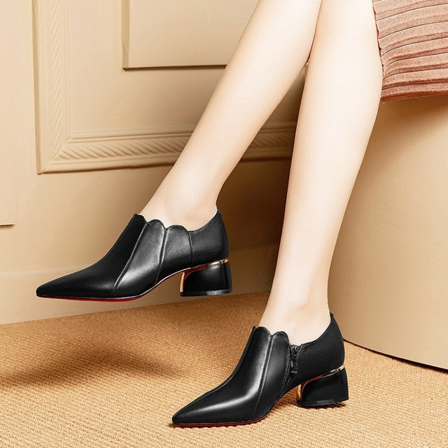 MLJUESE 2019 donne di pompe in pelle di Mucca Morbida primavera autunno nero di colore slip on scarpe a punta tacchi alti pattini di vestito dal partito formato 33-42