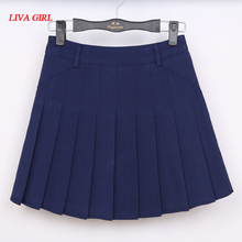 Women's cute College wind Plus Size XS-XXLl Uniforms skirt For Women Students High Quality Solid color High waist Pleated skirts