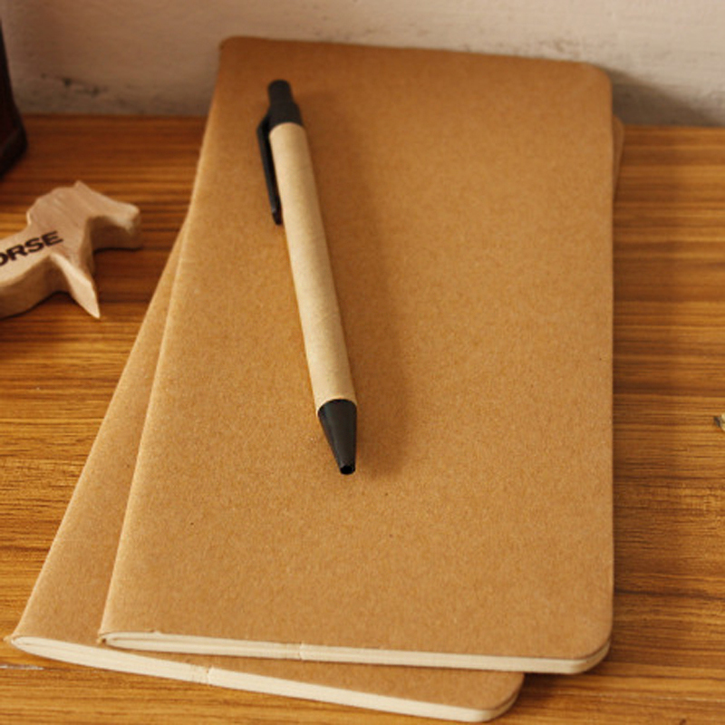 10 / lot Buku Nota Cowhide Buku Notepad Blank Vintage Soft Copybook Daily Memos Kraft Cover Journal Notebook