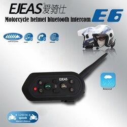 Interkom motocyklowy Hełm Bluetooth bezprzewodowy zestaw słuchawkowy 6 zawodników Intercomunicador zestaw słuchawkowy 1200 M BT Interphone E6 aktualizacja 2 sztuk