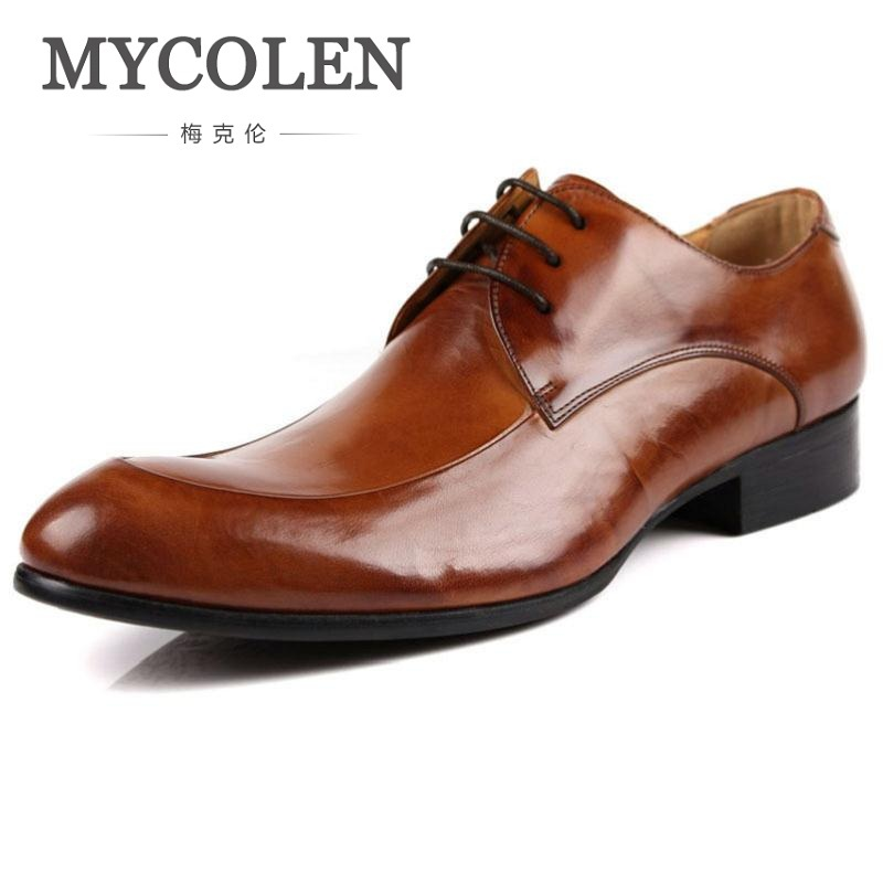 MYCOLEN Man Shoes Leather Genuine Luxury Brand Classic Pointed Toe Dress Shoes Mens Wedding Oxford Formal Shoes Soulier Homme mycolen mens shoes round toe dress glossy wedding shoes patent leather luxury brand oxfords shoes black business footwear