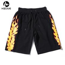 2017 Fire Flames Printed Sweat Shorts Mens Summer Cotton Casual Elastic Waist Drawstring Shorts Hip Hop Sweatpants Shorts M-XXL