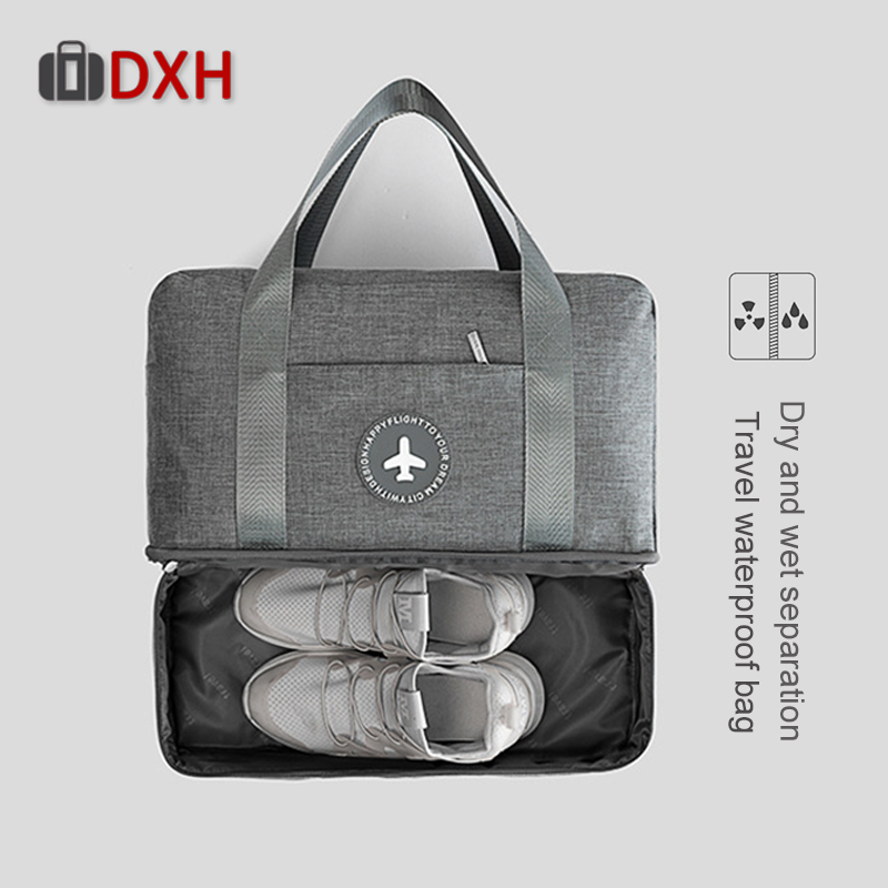 2019 Cationic Fabric Waterproof Travel Bag Large Capacity Double Layer Beach Bag Portable Duffle Packing Cube Weekend Bags DXH