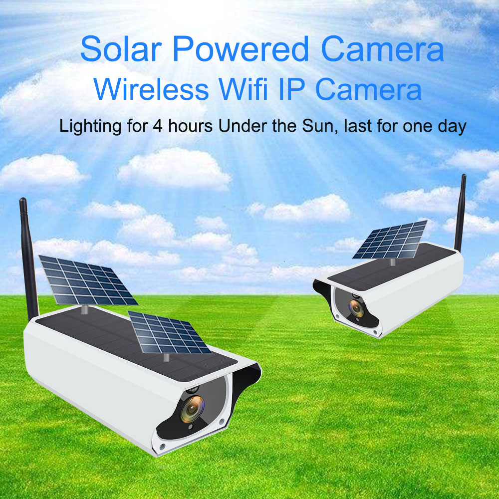 Solar WiFi IP Camera 1080P HD Outdoor Charging Battery Wireless Security Camera PIR Motion Detection Bullet