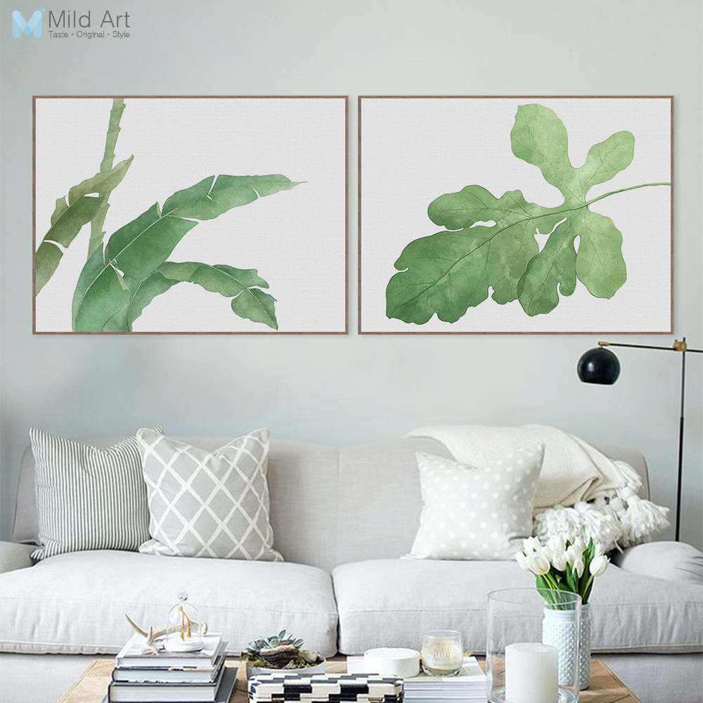 25 Modern Decor Ideas With Floral Fabric Prints And Textiles: Modern Watercolor Green Leaf Plant Poster Print Floral