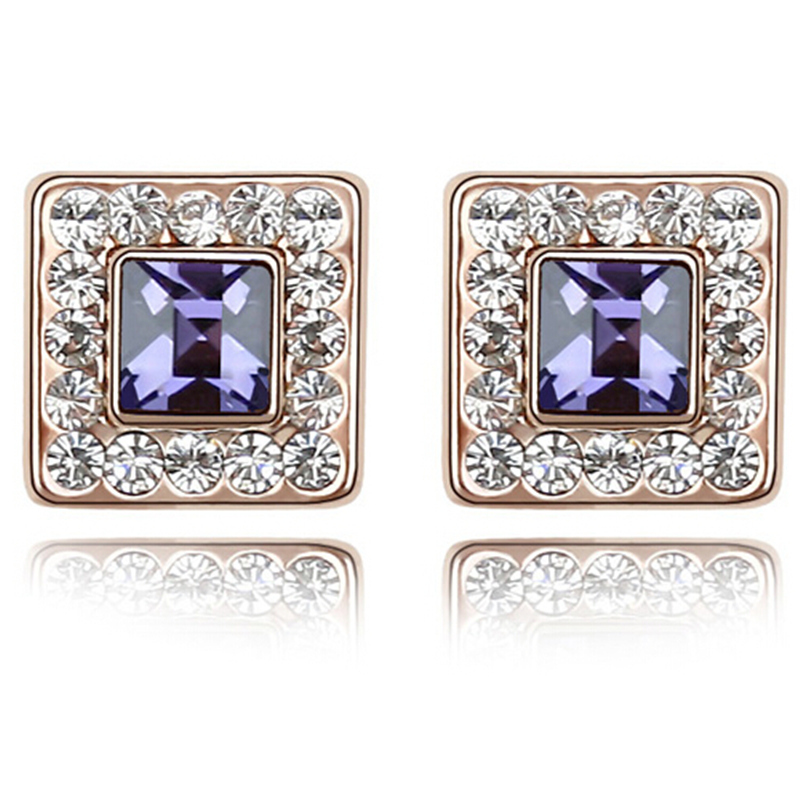 Austrian Crystal Stud Earrings Women Fashion Jewelry High Quality Crystal from Swarovski Rose Gold Color Earrings S
