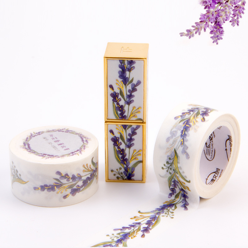 MaoTu Lavender Decorative Washi Tape DIY Self-Adhesive Masking Tape Journal Diary Home Gift Lipstick Decoration Sticker 25mmx5m