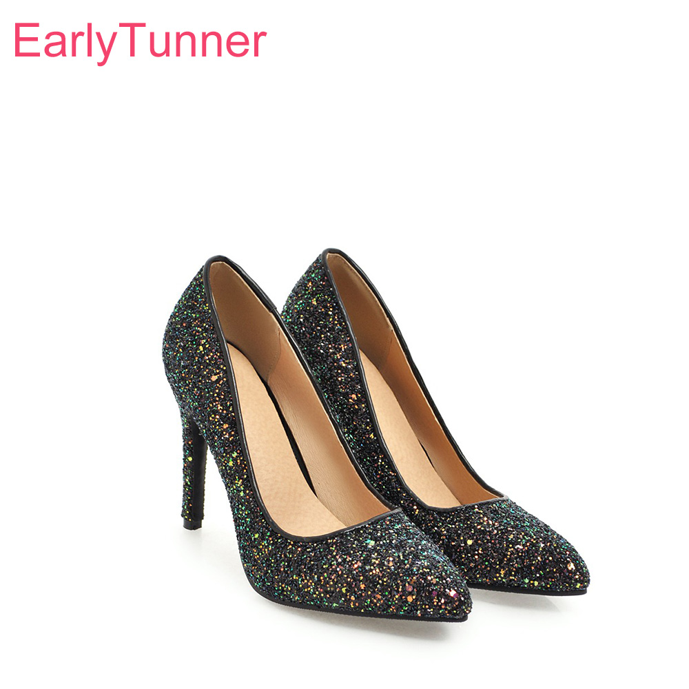New Ladies Wedding Pumps Shoes Womens Leisure Pointed Toe High Heel US Size 3-10