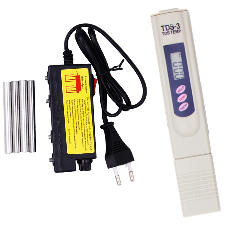 TDS Eau Electrolyzer essai Filtres À Eau outil de test électrolyseur électrolyse stylo avec fusible UE plug 17% OFF