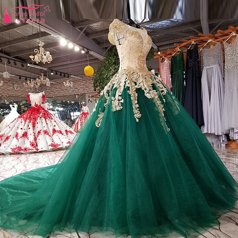 Gorgeous A Line Wedding Dresses Green With Gold Appliques