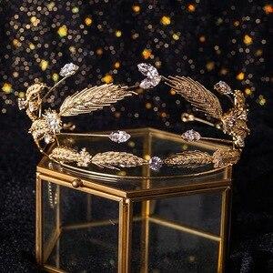 Image 5 - Ободок для волос Bavoen в стиле ретро, золотые ободки для волос с фианитом, тиары для невесты, прозрачные свадебные аксессуары для волос