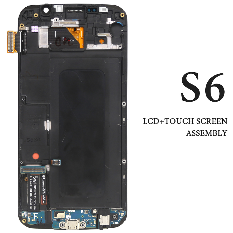 Super AMOLED LCD For Samsung S6 LCD Dispaly With Frame With Touch Screen Assembly For Samsung G920F LCD Digitizer Replacement