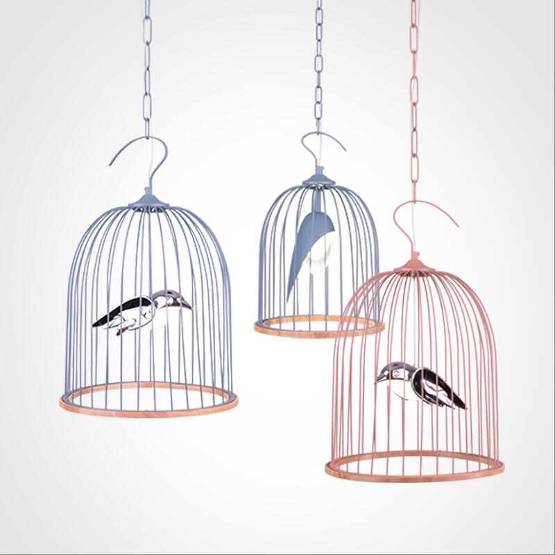 Moderne 110 v 220 v 4 w 6 w blanc chaud 4000 K LED blanc/noir fer cage à oiseaux suspension lampe LED cage à oiseaux suspension