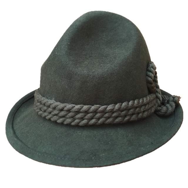 2045c9c6e Tyrolean Hat Oktoberfest Wool Bavarian Alpine Felt Hat Chapeau/ Fedora Rope  Hat Army Green